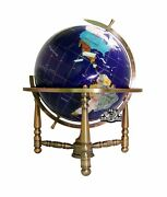 Unique Art 19-inch Tall Blue Lapis Ocean Table Top Gemstone World Globe With ...