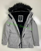 Guys Hollister Faux-fur-lined Parka Light Grey New With Tags