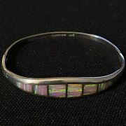 """Stunning Estate Sterling Silver And Opal Inlay Pink Hinged Bangle Bracelet 7.25"""""""