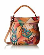 Anna By Anuschka Genuine Leather Convertible Tote   Hand-painted Original Art...
