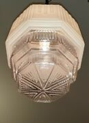 Vtg/antique Skyscraper Cake Tier Art Deco Etched Glass Light Fixture Chandelier