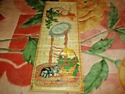1987 Giftco 2 Sided Footprints In Sand And Cat Wall Art Calendar On Bamboo 33x12.