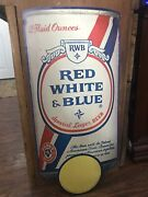 Rare Red White And Blue Beer Advertising Cardboard Can Shape Pabst Breweries 1981