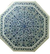 40 Inches Marble Utility Table Top Inlay Dinning Table With Blue Mother Of Pearl