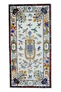 30 X 60 Inches Marble Conference Table Inlay Wall Panel With Pietra Dura Art