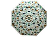 Marble Dining Table Inlaid With Multi Color Gemstone Lawn Table Floral Design