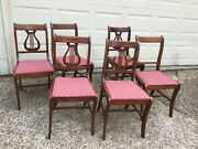 6 Antique Wood Harp Back Dining/side Chairs