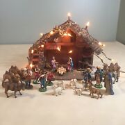 Large Vintage Italian Nativity Scene Stable With Paper Mach Figures Italy