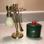A180 Vintage Brass Shaving Brush And Razor With Stand Avon Talc For Men And Tin