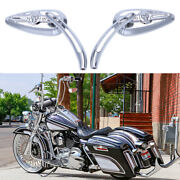 Chrome Motorcycle Skull Mirrors For Harley Davidson Road King Fatboy Softail Us