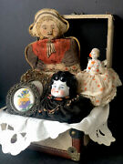 Treasure Chest With Antique/vintage Pin Cushion, China And Cloth Dolls