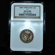 1849 Braided Hair Half Cent ✪ Ngc Ms-64-bn ✪ 1/2c C-1 Large Date Unc ◢trusted◣