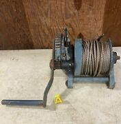 Wintech Lm6w Spur Gear Winch 2 Ton 7/16 Cable Aprx. 95and039 Length Used