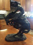 Remington Bronze Sculpture Cowboy Rattle Snake Rearing Horse 21 Inches High