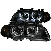 Anzo 121269 Projector Headlights W/ Halo Black For 2000-2003 Bmw 3 Series E46