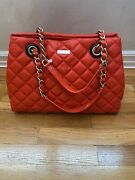 Quilted Leather Kate Spade Gold Coast Maryanne Scarlet Red Bag Purse 623