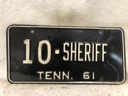 Vintage 1961 Tennessee Sheriff License Plate 10