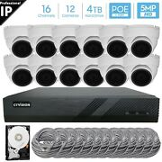 16 Channel 4k 8mp Poe Nvr 12 X 5mp Hd Ip Dome Camera Cctv Security System 4tb