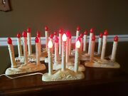 9 Vintage Plastic Drip Electric Christmas 3 Candle Stick Window Candelabra