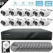 16 Channel 4k 8mp Poe Nvr 12x5mp Hd Ip Bullet Camera Cctv Security System 4tb