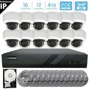 16 Channel 4k 8mp Poe Nvr 12x5mp Hd Ip Dome Camera Cctv Security System 4tb