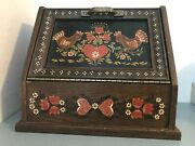Vintage Wooden Bread Box Beautifully Hand Painted With Chickens, Hearts And Tulips