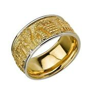 14k Two Tone Gold Jewish Ring Two-tone Jerusalem City Etched 3d Bordered 10.7mm