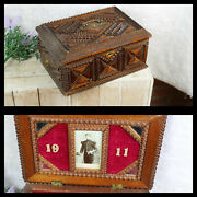 Rare Antique Wood Carved Tramp Art Box Lion 1911 Flemish Soldier Army Rare