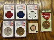 1962 Ana-cna Numismatic Convention Medals Badge And Token Set Detroit Macosilver