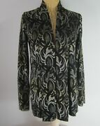 Klok Denmark Womens Small Black Silver Paisley Ls Open Front Cardigan Stretchy