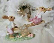 Easter Bunny Rabbit Family On The Seesaw Shabby Vintage Decoration 7 1/8in