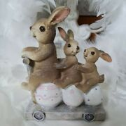 Easter Bunny Hares On Scooter Deco Easter Shabby Vintage Decoration 4 11/16in