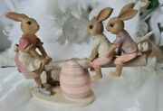 Easter Bunny Rabbit Family On The Seesaw Shabby Vintage Decoration 20 7 5 1/8in