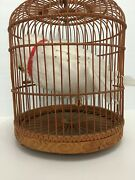 Vintage Bent Bamboo Round 19 Birdcage Hanging/table Top W/faux Large White Owl