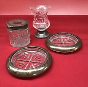 Lot Of 4 Antique And Vintage Sterling Silver And Cut Glass F. B. Rogers