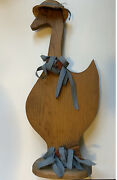 Hand Carved Vintage Primitive Goose Duck Folk Art Cut Wood Country Decor And Stand