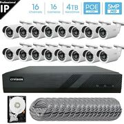 16 Channel 4k 8mp Poe Nvr 16x5mp Hd Ip Bullet Camera Cctv Security System 4tb