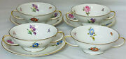 4 Rosenthal Winifred Floral 5 1/4 Cream Soup Bowls And/ 3 Liner Plates W/gold