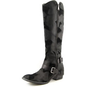 Donald J Pilner Dela Western Riding Tall Boot Suede Leather Black Sz 6 New