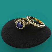 2.40 Ct Real Sapphire Gemstone Wedding Ring Solid 14k Yellow Gold Rings Size 7 9