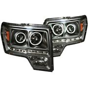 Anzo 111298 Projector Headlights W/ Halo Black Ccfl G2 For 09-14 Ford F-150