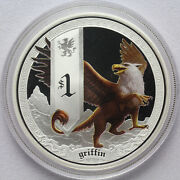 2013 Perth Mint Tuvalu 1oz 999 Colored Griffin Mythical Creatures Silver Coin