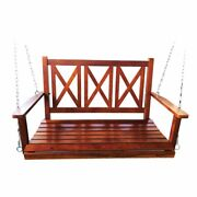 Wooden Barn Door Porch Swing Wood Frame Hanging Bench Chair Seat Patio Furniture
