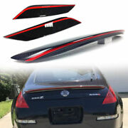 Carbon + Red For Nissan 350z Z33 2dr Coupe Convertible Trunk Spoiler + Eyebrows