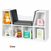 Bench With Bookcase Kids Furniture Cushioned Reading Toy Nook White 6 - Rsenio