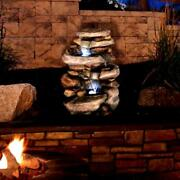 Resin Rock Waterfall Outdoor Fountain Stone With Led Lights For Patio Pond - Rse