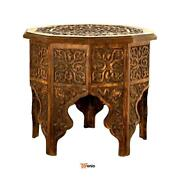 Hand Carved Wood Tables Anglo-indian Table Mango Wood Walnut - Rsenio