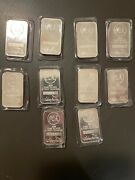 10 5 Troy Ounce Silver Towne Bars .999 Sealed In Pack Serial Numbers On Bars