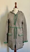 Anthropologie Sparrow Grey Chevron Wool Jacket W/ Green Accents - Size Small
