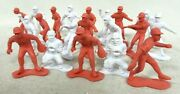 Lot Of 20 Vintage Red And White Plastic Baseball Player Figures Model Sports Toys